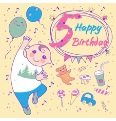Birthday of the little boy 5 years vector image