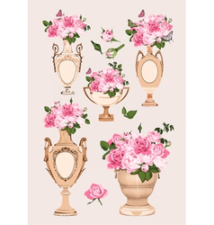 collection of vases roses on pink background vector image vector image