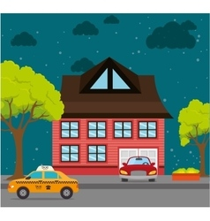 Home landscape cartoon graphic vector image vector image