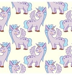 Pastel colored hand drawn unicorns seamless vector