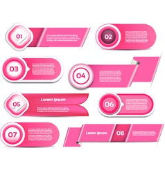 Set of pink progress version step icons vector image vector image