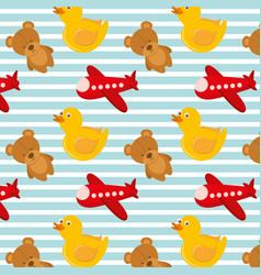toys airplane teddy and rubber duck bakground vector image