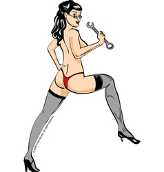 Wrench Girl Pin Up vector image
