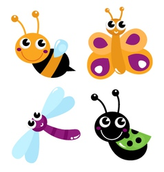 Cute little cartoon bugs isolated on white vector image