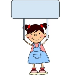 Cute School Girl Holding a Sign vector image