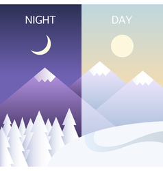 Day and night in winter flat or banners vector image vector image
