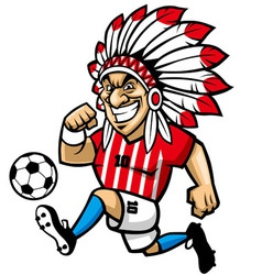 indian chief soccer mascot vector image