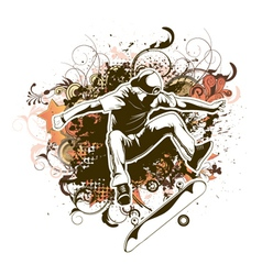 skater with grunge and floral vector image vector image