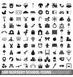 100 nursery school icons set simple style vector
