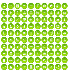 100 war crimes icons set green circle vector