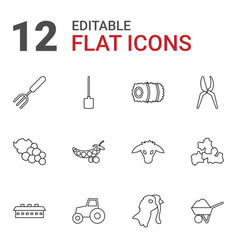 12 agriculture icons vector image