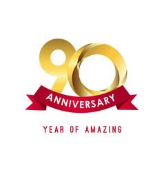 90 year anniversary year amazing template vector