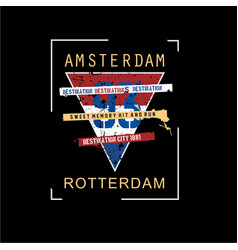 Amsterdam print design typhography vector