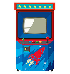 Arcade game machine with space theme vector image