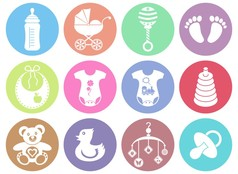 Baby boy and girl icons vector