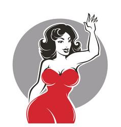 Beauty and happy plus size pinup lady vector