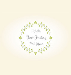 beauty floral vine leaves greeting logo vector image