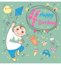 Birthday of the little boy 4 years vector