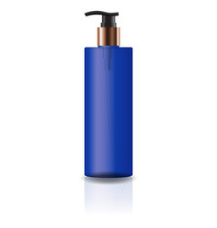 blue cosmetic cylinder bottle with pump head vector image