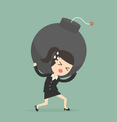 businesswoman carrying the bomb vector image