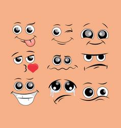 caricature comic emotions set vector image
