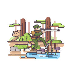 character of hunter with gun vector image vector image