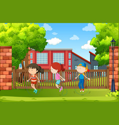 children jumping the rope vector image