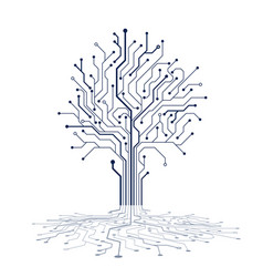 circuit tree silhouette technology background vector image
