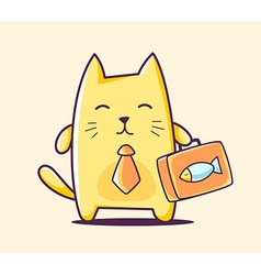color business character cat with briefca vector image