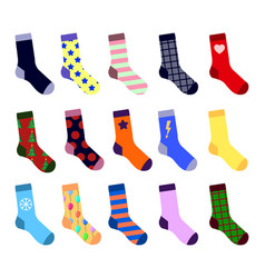 colorful socks set with picture flat design vector image