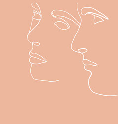 continuous line drawing set faces men and vector image