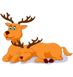 Cute two deer cartoon sitting vector