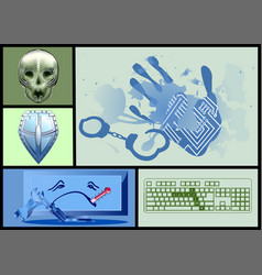 cyber crime set vector image vector image