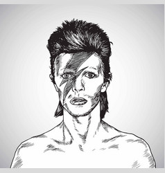David bowie portrait drawing caricature vector