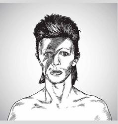 david bowie portrait drawing caricature vector image