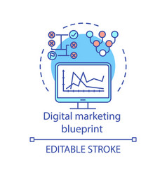 digital marketing blueprint concept icon vector image
