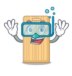 Diving wooden cutting board character cartoon vector