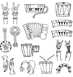 Doodle of tool music pack vector