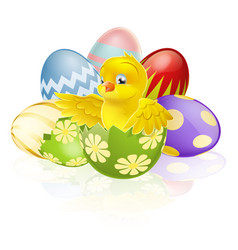 Easter chick in egg vector