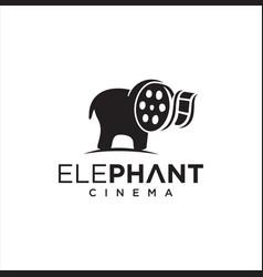 elephant cinema logo template movie production vector image