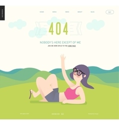 Error web page template - waving girl on green vector image