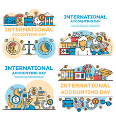 Financial accounting banner set outline style vector