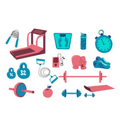 fitness equipment set collection sport tool vector image