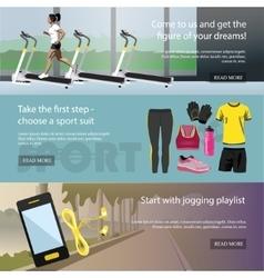 Fitness horizontal banners set Sport equipment vector