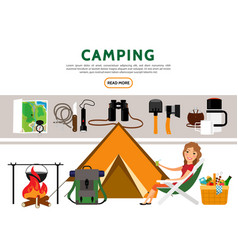 Flat camping elements set vector