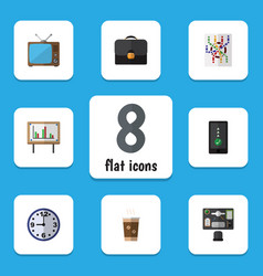 Flat icon life set of briefcase cellphone vector