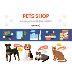 flat pet shop elements collection vector image