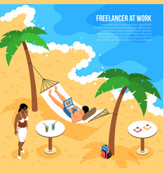 freelancer beach isometric composition vector image