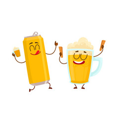 Funny beer can and mug characters having fun vector