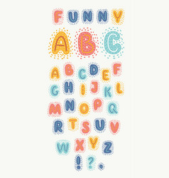 funny english alphabet colorful hand drawn abc vector image